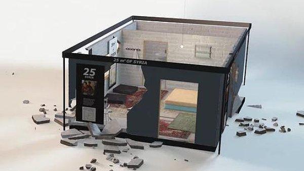 Ikea nenápadně nainstalovala do svého obchodu imitaci obydlí zničeného válkou
