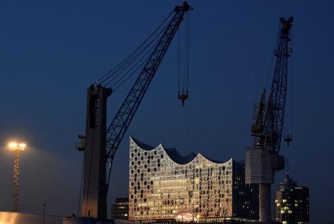 Pohled na novou budovu Labské filharmonie v Hamburku.