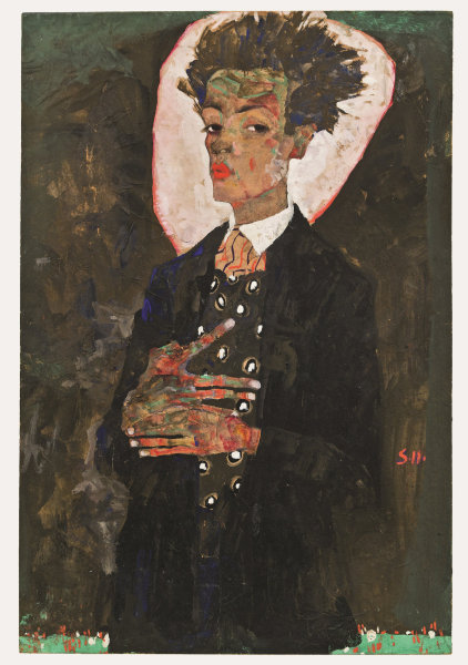 Egon Schiele: Self-Portrait with Peacock Waistcoat, 1911