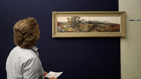Snímek z výstavy děl Emila Filly v Lounech.