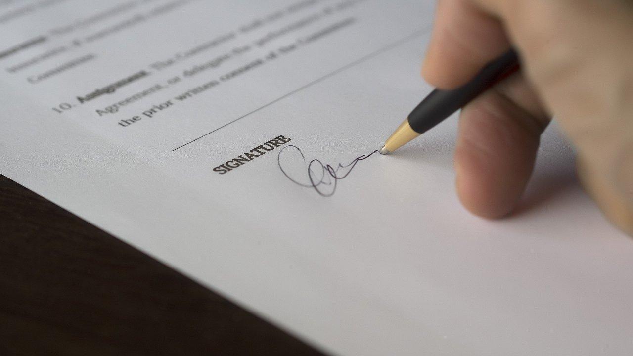 podpis, pracovní smlouva, ilustrace