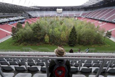 Na fotbalovém stadionu vyrostl les. Obří umělecká instalace varuje před klimatickými změnami
