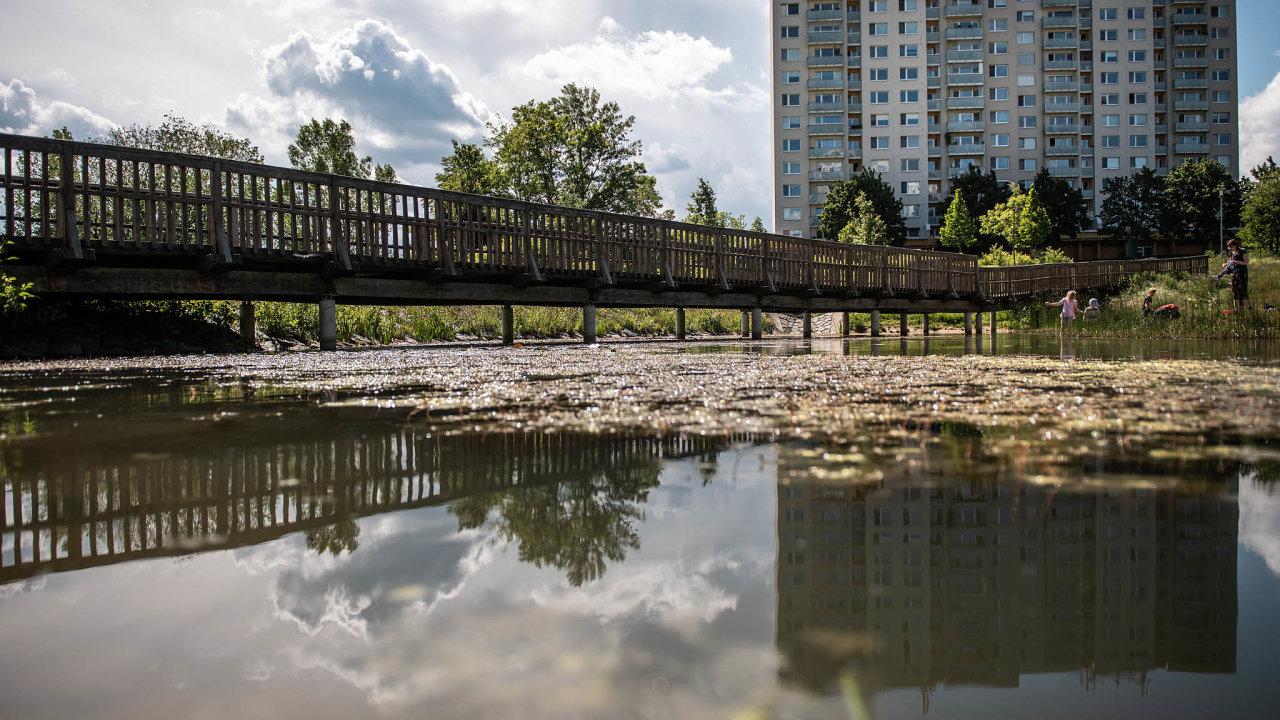 Novátorské sídliště. Brněnský Nový Lískovec je čtvrtí, kde všestranně využívají dešťovou vodu. V parku k tomu vzniklo jezírko a místní škola chystá na zimu kluziště.
