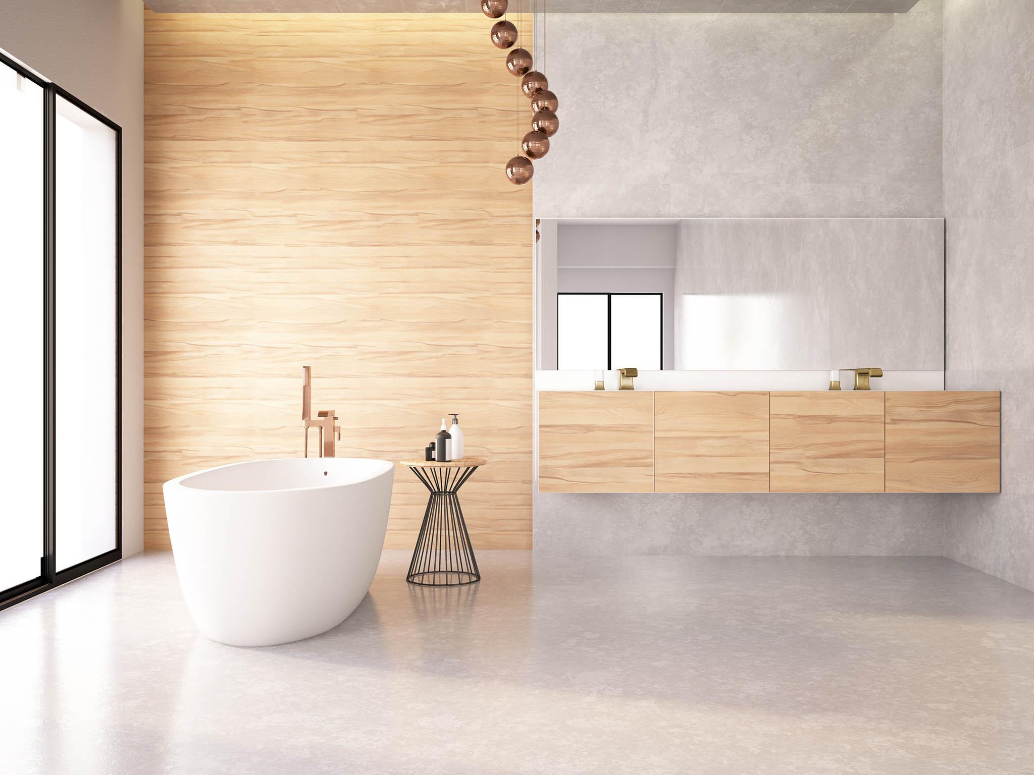 Dřevěné obložení koupelen může být velmi elegantní.