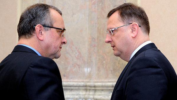 Ministr financí Miroslav Kalousek a premiér Petr Nečas