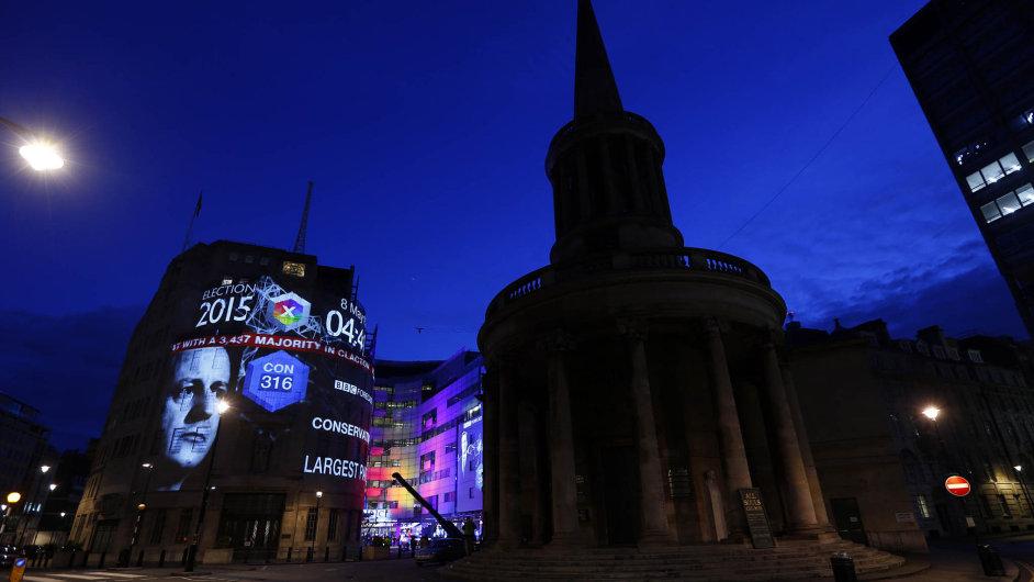 Tvář britského premiéra Davida Camerona na billboardu před budovou BBC v Londýně je poněkud ironickou kombinací.