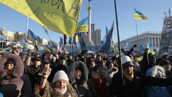 Lidé na jihu Ukrajiny protestovali kvůli výsledku komunálních voleb - Ilustrační foto.