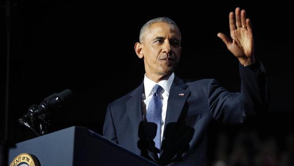 Končící americký prezident Barack Obama během svého projevu v Chicagu.