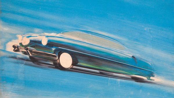 František Kardaus: Originální návrh plakátu automobilu Tatra, tempera atužka napapíře, konec 40. let