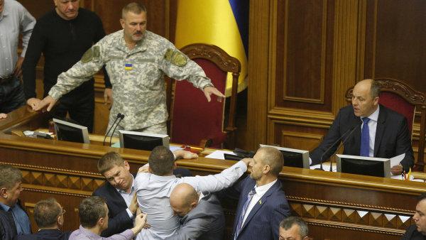 Před hlasováním se strhla rvačka. Poslanec z nacionalistické strany Svoboda se pokoušel zabránit hlasování fyzickým útokem na předsedu.