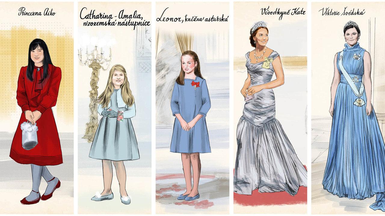 (Zleva) Aiko, princezna Toši; Catharina-Amalia, kněžna oranžská; Leonor, kněžna asturská; Catherine, vévodkyně z Cambridge a Viktorie, vévodkyně västergötlandská