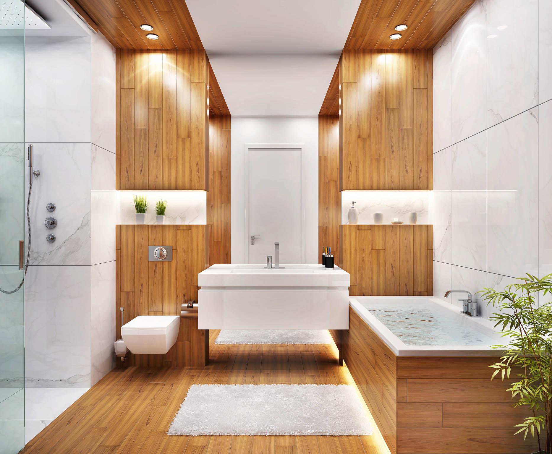 Možné je vše, co jen fantazie dovolí. Dřevem lze obložit celou koupelnu, pořídit sprchový kout, vanu nebo instalovat dřevěnou podlahu.