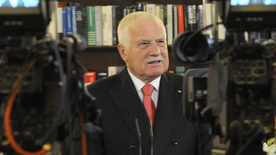 Prezident Václav Klaus při novoročním projevu
