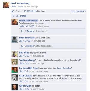 Mark Zuckeberg a jeho mapa facebookových přátelství