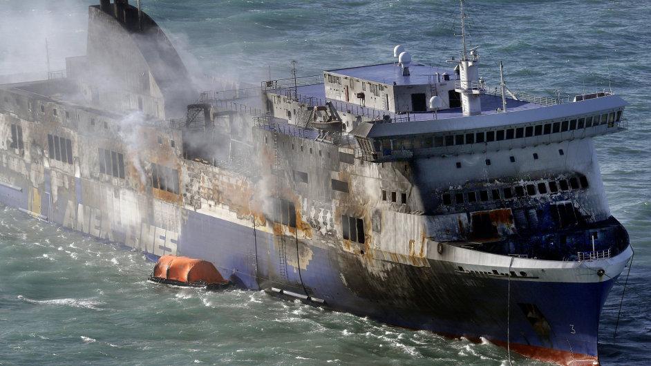 Ohořelý trajekt Norman Atlantic kotvící u italského pobřeží čeká na výsledky kontroly a povolení ke vstupu.