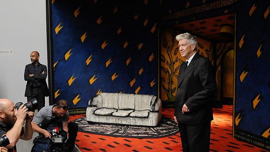 David Lynch na zahájení své výstavy v Austrálii.