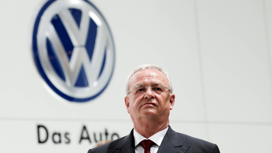Volkswagen Chief Executive Martin Winterkorn stands at the Volkswagen booth at the world's largest industrial technology fair