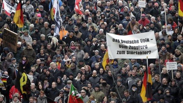 Účastníci demonstrace proti migrační politice německé vlády.
