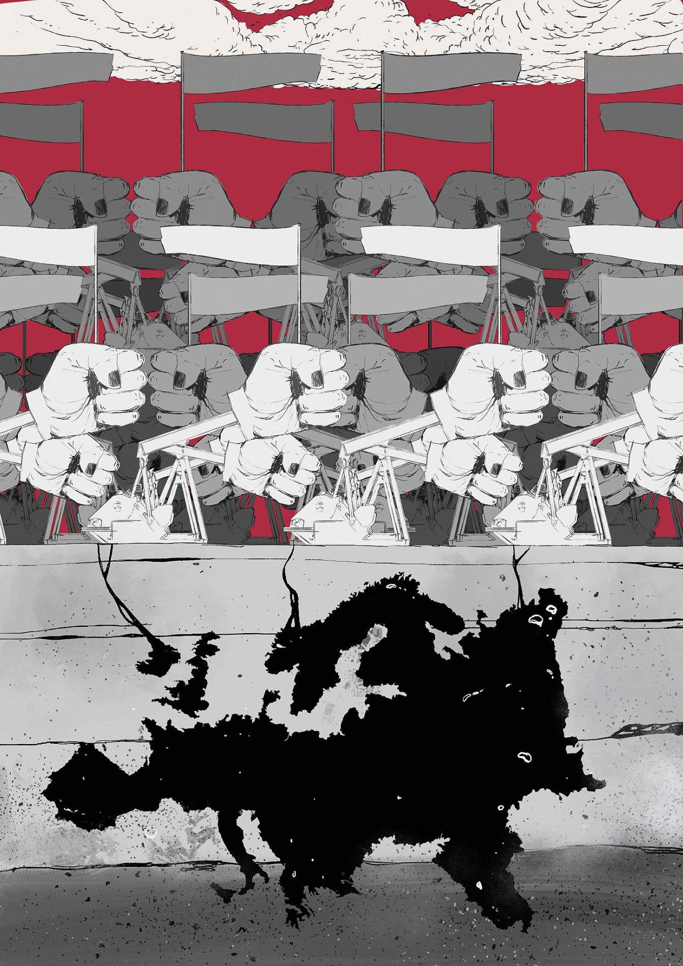 Krajní pravice dobývá Evropa - ilustrace Dominik Miklušák