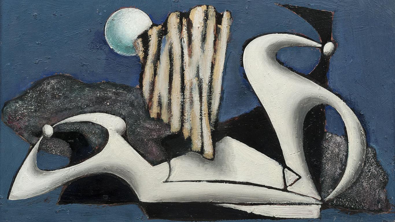 Obraz Františka Muziky s názvem Dvě figury.