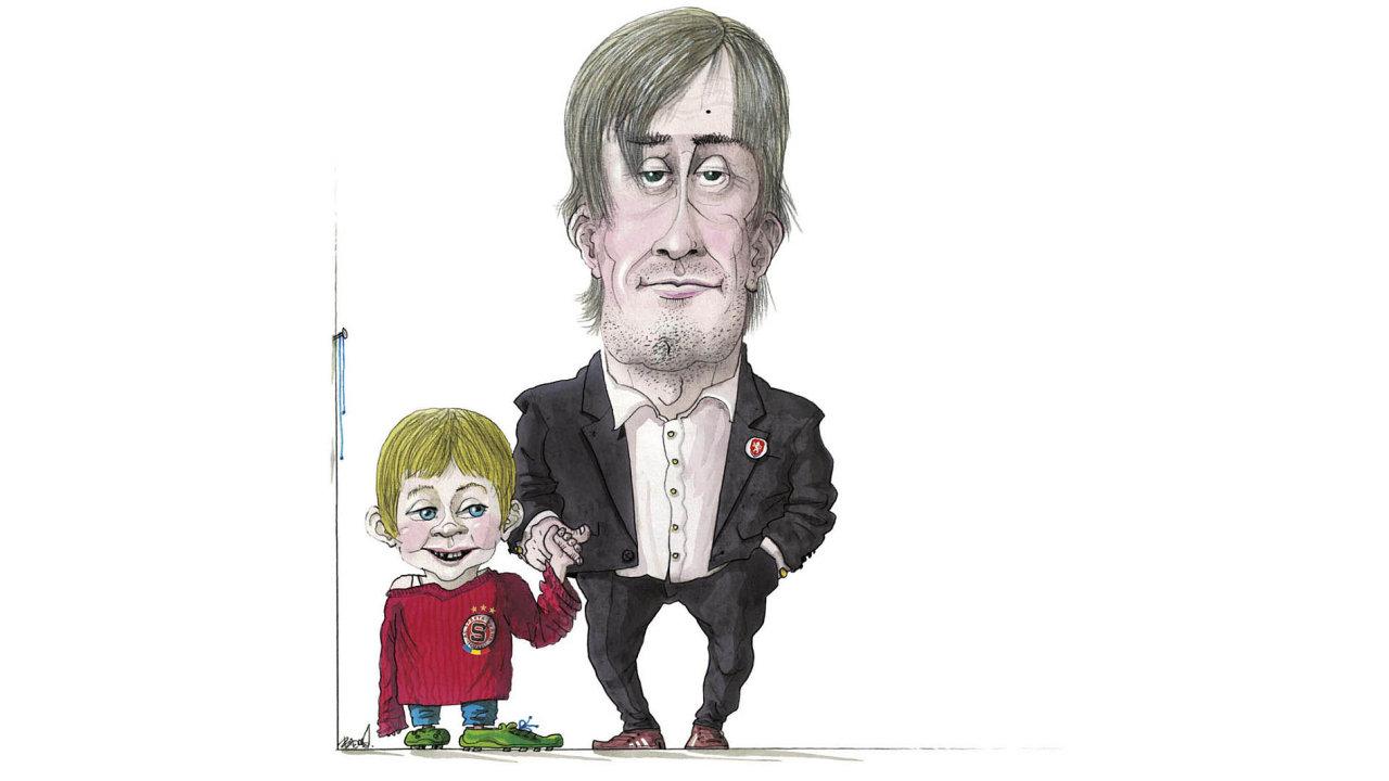 Kopačky na hřebík: Na středeční tiskovou konferenci, kde se Tomáš Rosický loučil s kariérou fotbalisty, vzal i svého čtyřletého syna Tomáše.