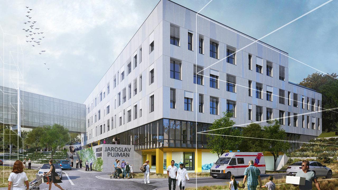 Ukázkou vybudování moderního objektu, který vhodně navazuje na stávající budovu nemocnice, je výstavba nového pavilonu Nemocnice Pelhřimov (vizualizace).