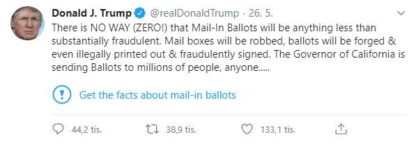 Twitter k příspěvku amerického prezidenta Donalda Trumpa doplnil poznámku upozorňující na to, že jsou některá jeho tvrzení o hlasování poštou nepřesná.