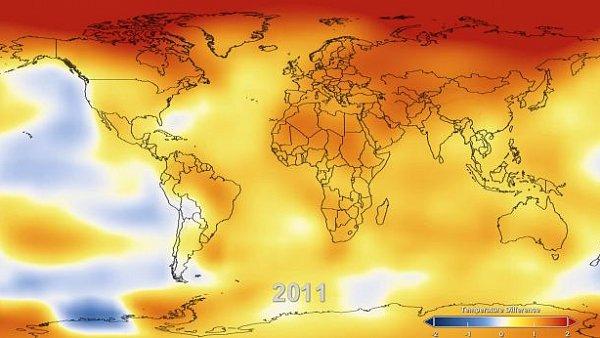 Teplotní mapa Země v roce 2011