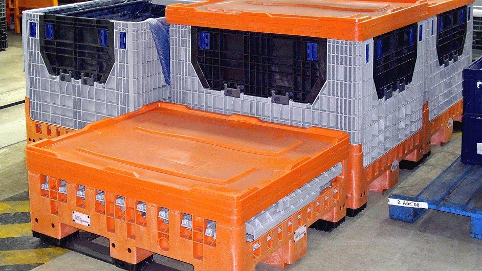 Výrobkový sortiment zahrnuje např. skládací kontejnery
