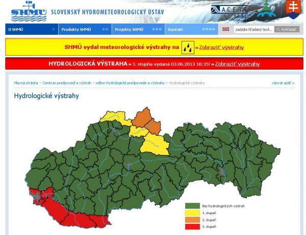 Aktuální povodňová výstraha pro Slovensko.