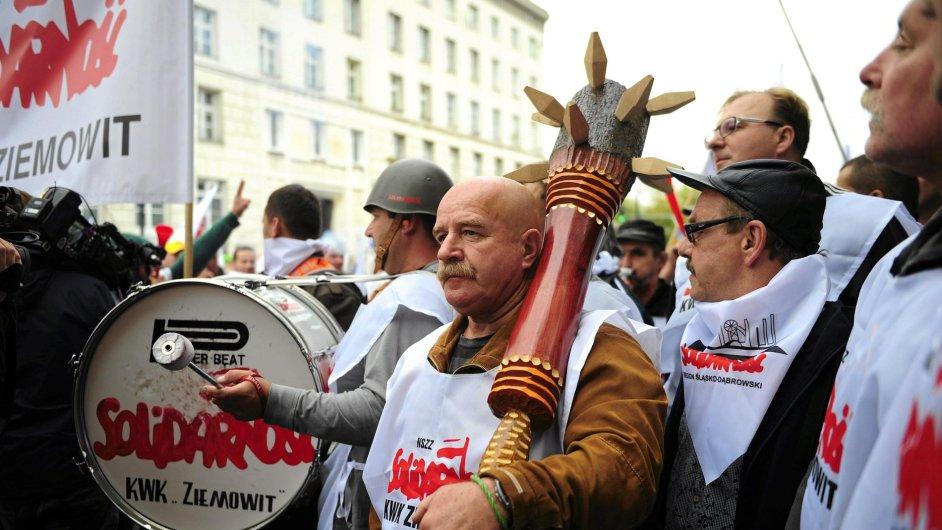 Proti vládní politice demonstrovali polští horníci už koncem loňského roku.
