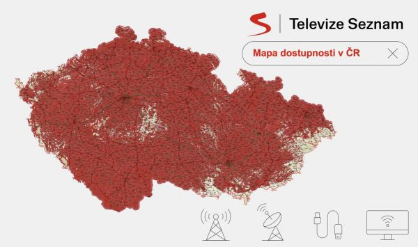 Mapa pokrytí Televize Seznam