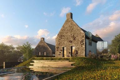Zahrada snů: Pět vil inspirovaných francouzským venkovem postaví vPraze 6 studio Jakuba Masáka. Součástí areálu budou ispolečné zahrady sjezírky, stájemi avenkovní jízdárnou.