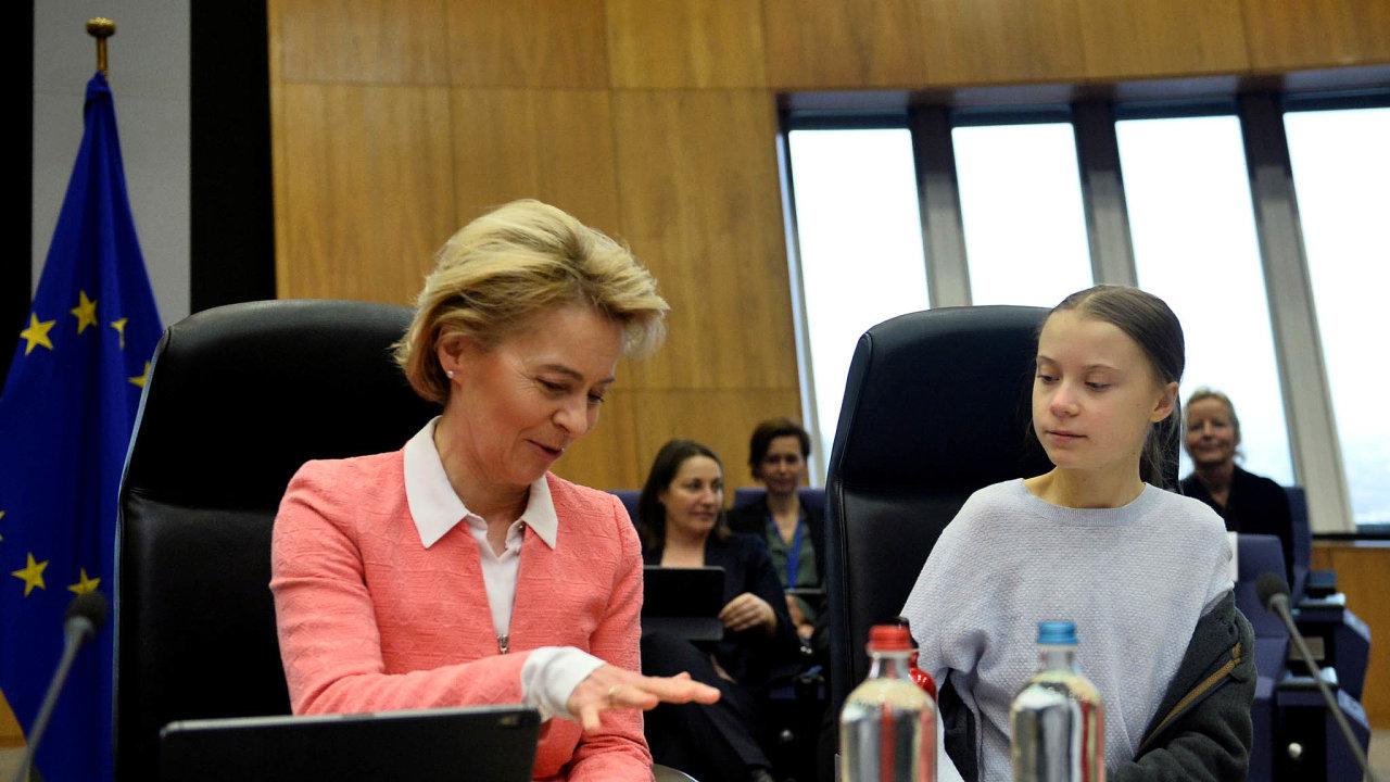 Greta Thunbergová poboku předsedkyně Evropské komise Ursuly von der Leyenové.