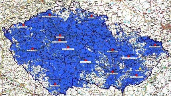 Mapa pokryti Regionální sítě 7