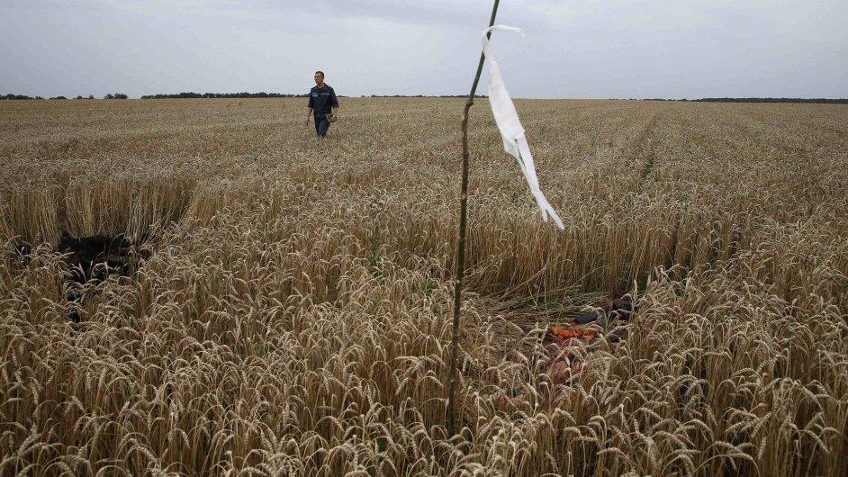 Těla obětí letu MH17 označují vlaječkami.