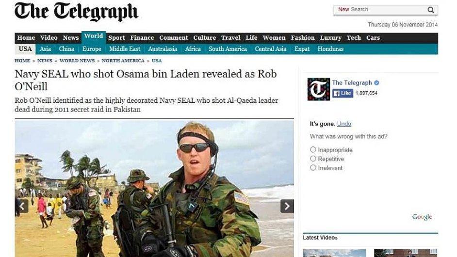 Rob O'Neill, který zabil Usámu Bin Ládina, odhalil svou identitu.