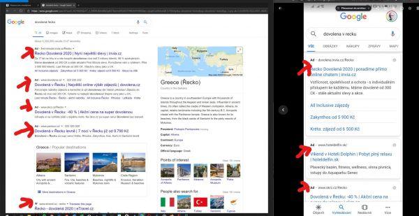 Nové označení reklamy ve výsledcích vyhledávání ve stolní a mobilní verzi Google Search