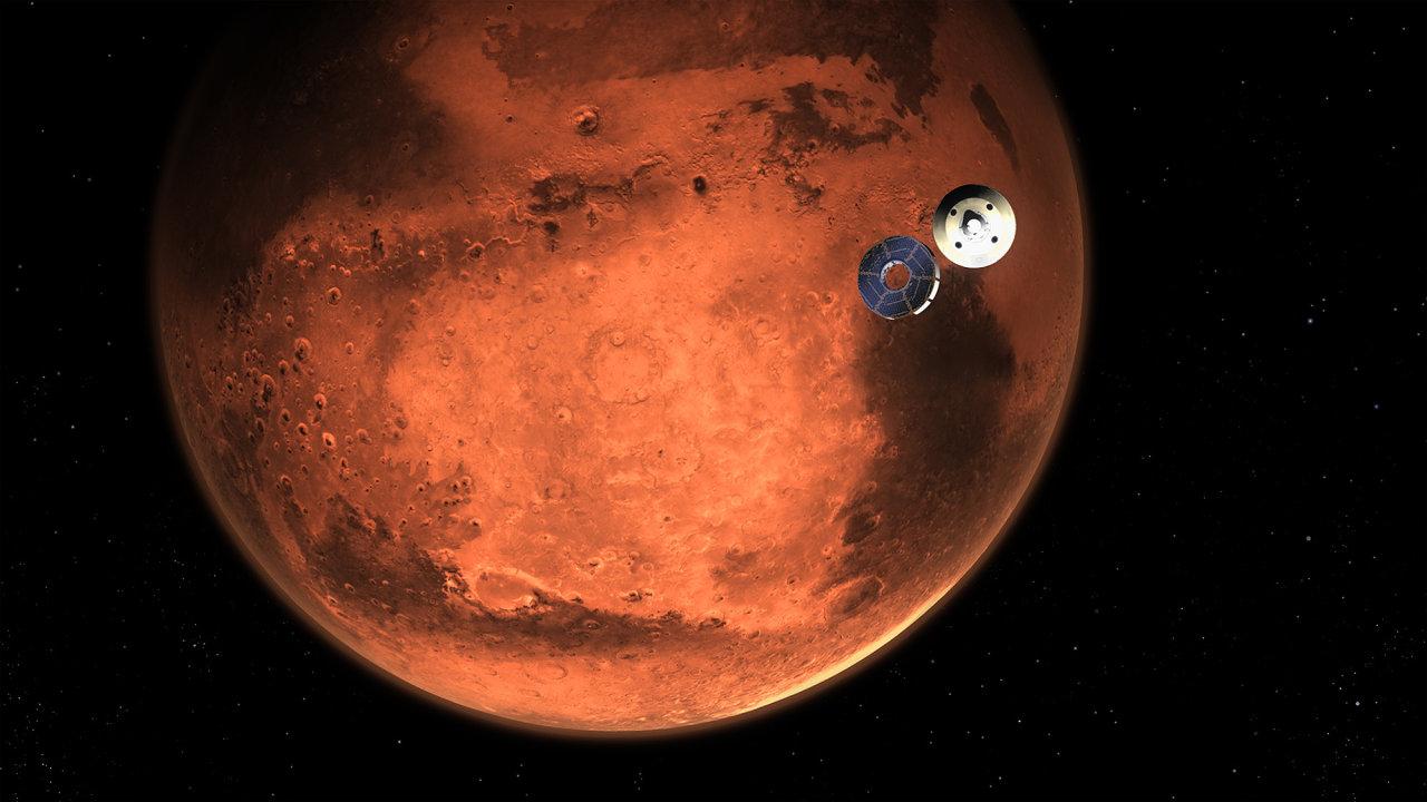 Ilustrace toho, jak by mohlo vypadat oddělení letového modelu sondy Perseverance před vstupem do atmosféry Marsu.