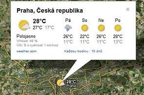 Google v Česku nabízí informace o počasí a předpověď, přímo v mapách