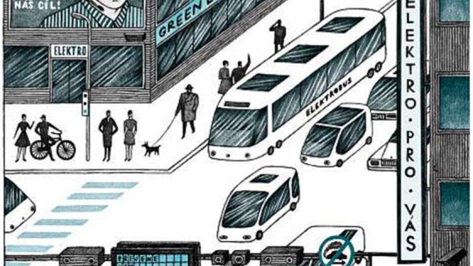 Doprava v budoucnosti. Ilustrační grafika.