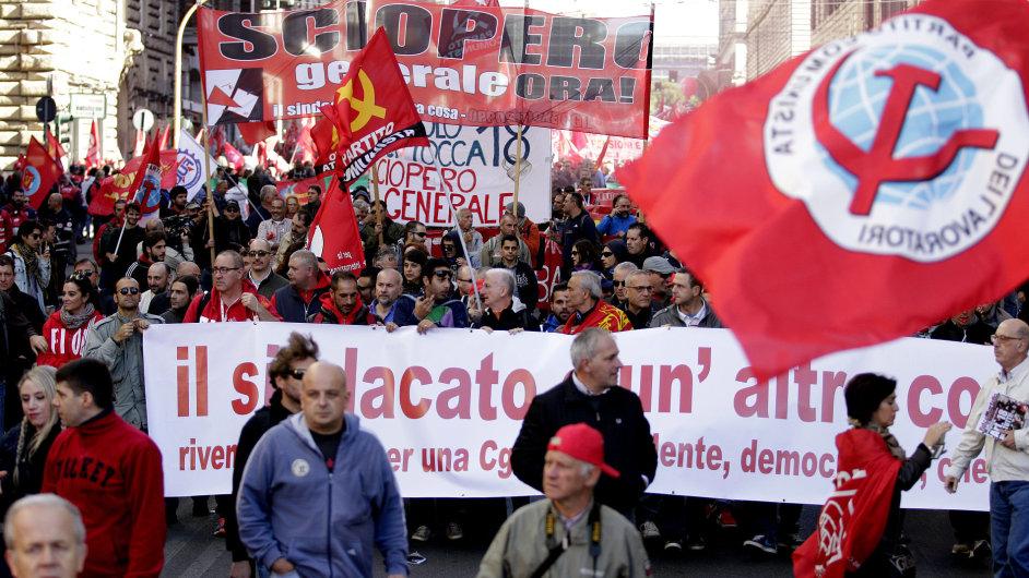 Demonstrace v Římě 25. října 2014