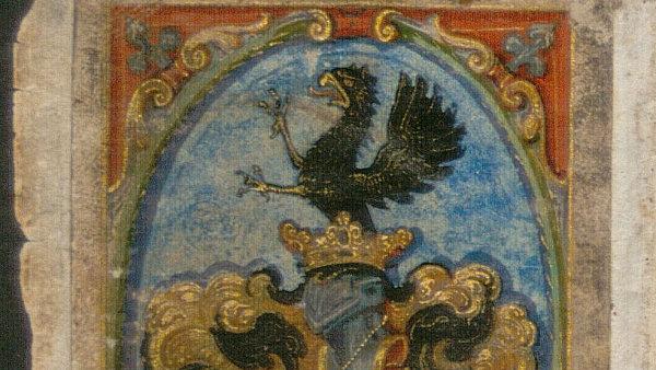 Modlitební kniha je zdobena malovanými erby Karbanů.