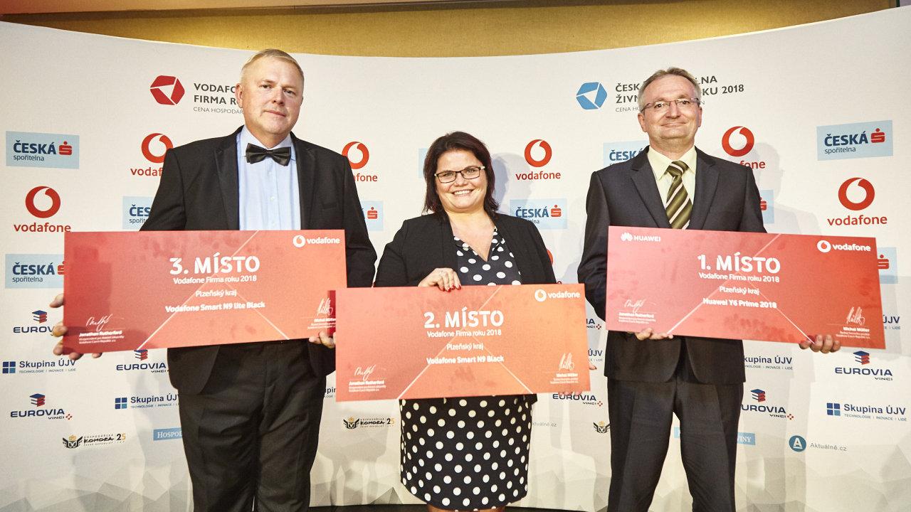 Vodafone Firma roku 2018 Plzeňského kraje: 1. GTW Bearings s.r.o., 2. KLAUS Timber a.s., 3. PEKASS s.r.o.
