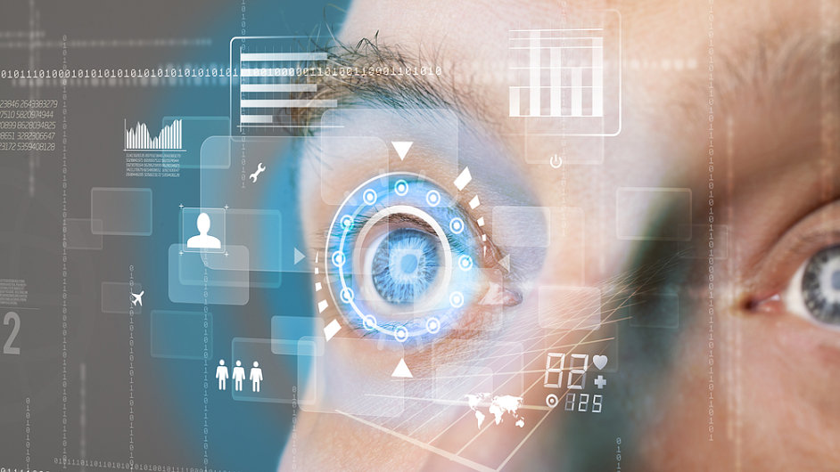Biometrický sken očí.