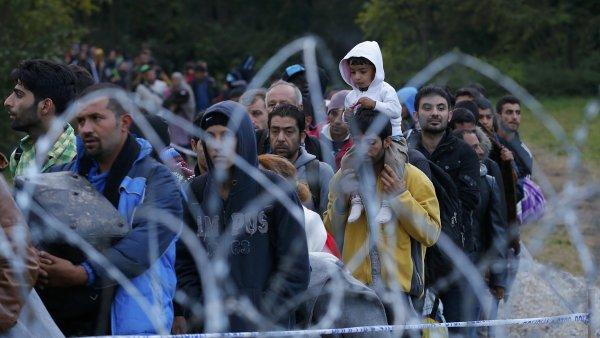 Migranti na cest� k p�ekro�en� ma�arsk�ch hranic.