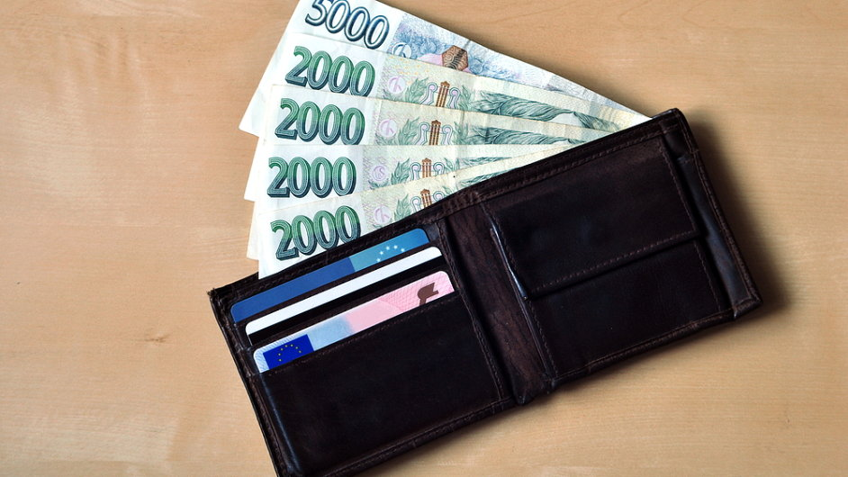 České peníze, koruny, koruna, peněženka - ilustrační foto