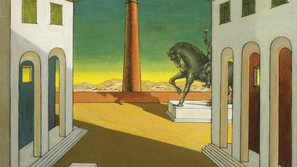 Giorgio de Chirico: Piazza d'Italia s koněm, olej na plátně, 45 ×55 cm, kolem roku 1970.