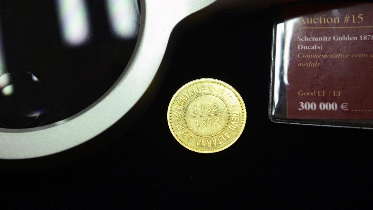 Aukční rekord odolal. Vzácný ´banskoštiavnický zlatník z roku 1878 se prodal za 13,2 milionu korun včetně aukční přirážky.