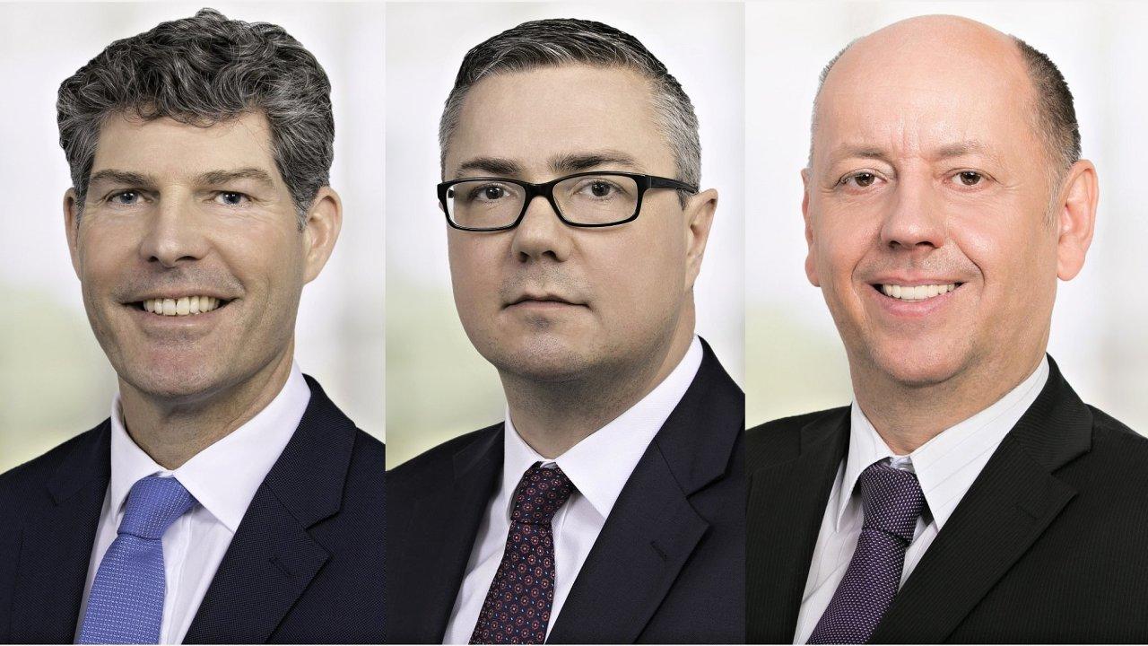 Ben Maudling, Stuart Jordan a Robert Pastuszek, vedení společnosti Savills Česká republika a Slovensko